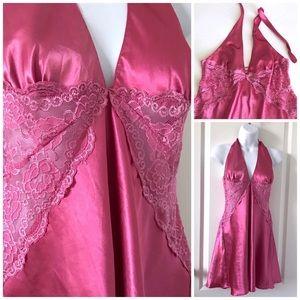 Vintage Lingerie Nightie Pink Satin Lace Babydoll